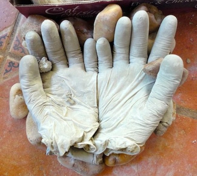 Drying DIY Concrete Hand Planters
