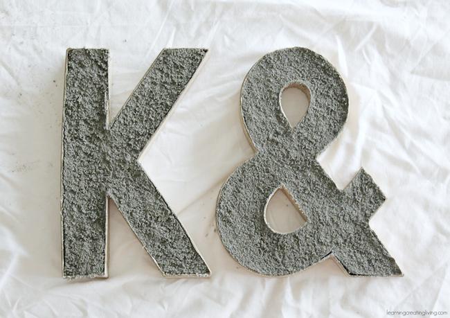 DIY Concrete Letter Wet Concrete