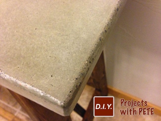 Finished Sanding DIY Concrete Table