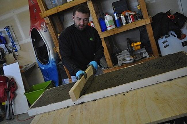 Screeding DIY Concrete Table Counter