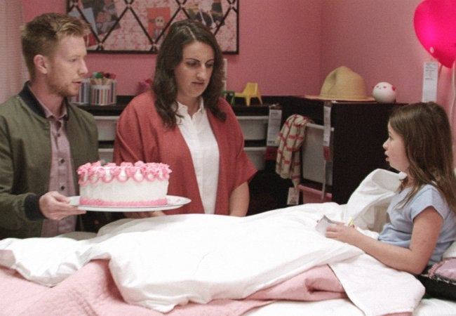 A birthday celebration in an IKEA bedroom
