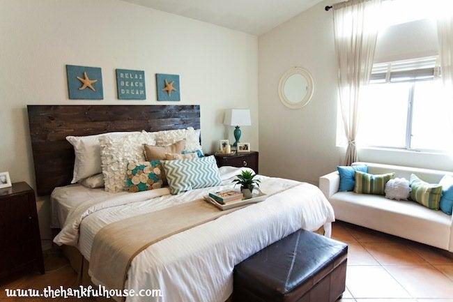 Bedroom After DIY Wood Headboard