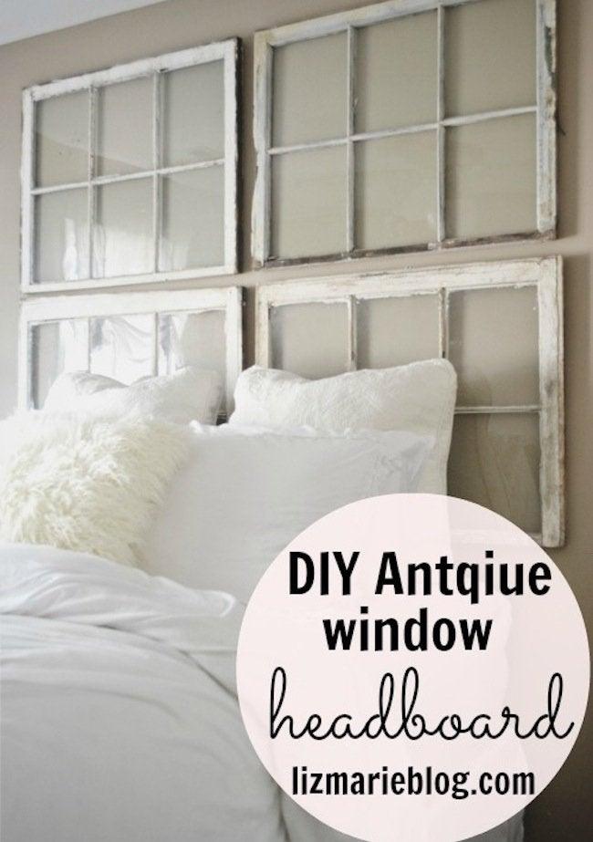 DIY Repurposed Window Headboard