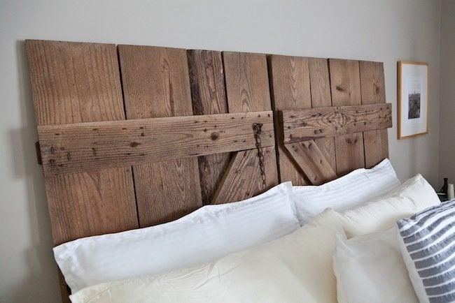 DIY Barn Door Headboard with Pillow
