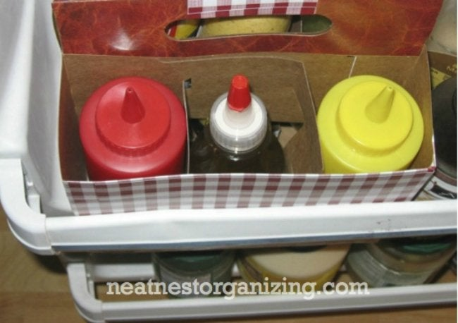 Refrigerator Organization - DIY Condiment Caddy