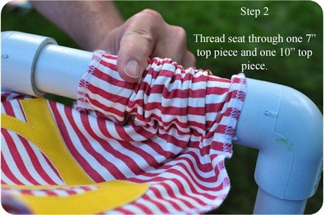 Put seat on DIY PVC pipe chair