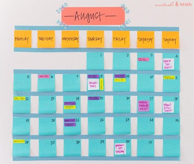 DIY Calendar - Washi Tape