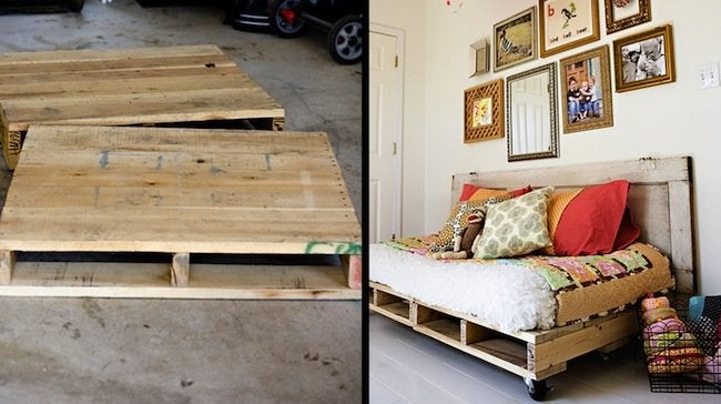 DIY Pallet Bed - Before and After