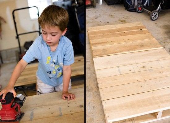 DIY Pallet Bed - Sanding