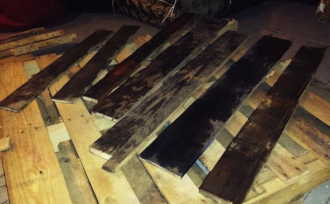 DIY Pallet Desk - Stain Boards