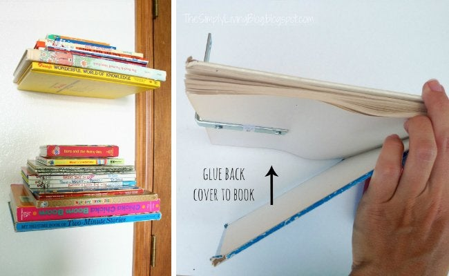 DIY Floating Shelves - Book Stack