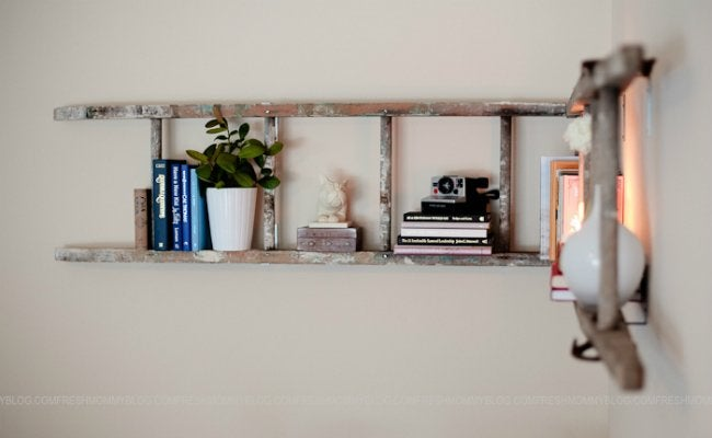 DIY Floating Shelves - Repurposed Ladder