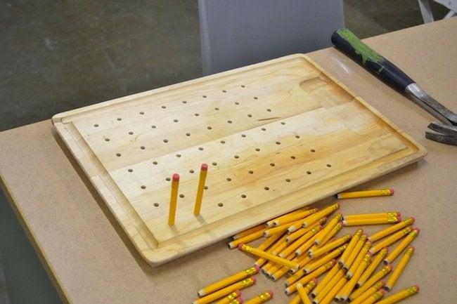 DIY Dish Rack - Adding Pencils