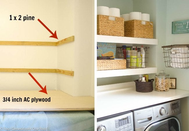 DIY Floating Shelves - Double