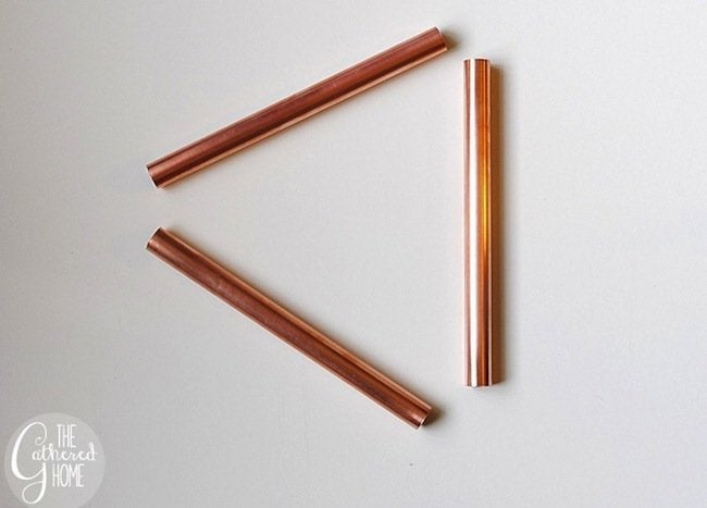 DIY Copper Light - copper pieces