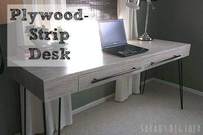 DIY Plywood Strip Desk