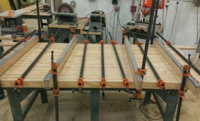 DIY plywood desk - clamps