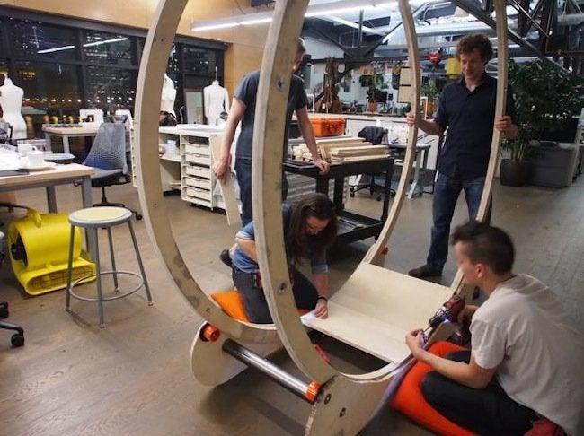 hamster wheel standing desk - attaching