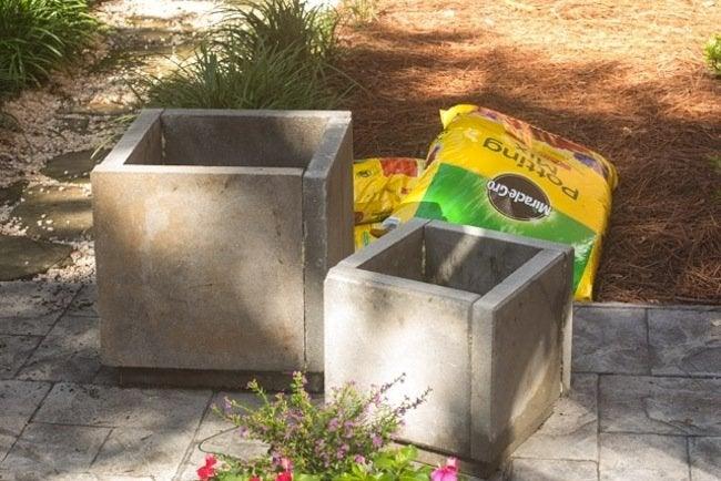 DIY Concrete Planters - add soil