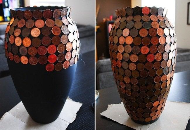DIY Penny Vase - gluing