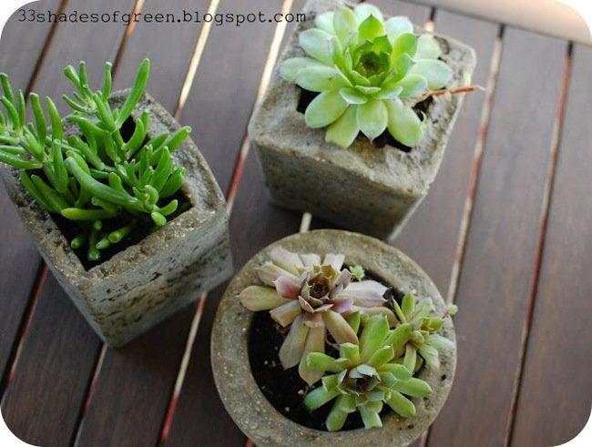 DIY hypertufa planter - finished