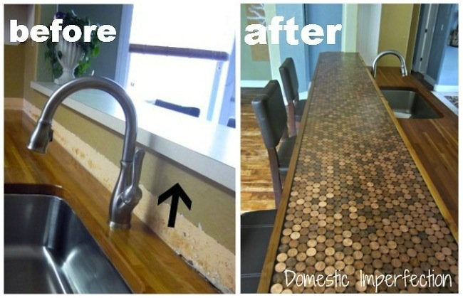 DIY Penny Countertop - Before and After