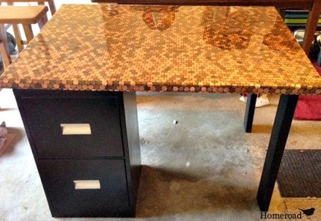 DIY penny desk - finished