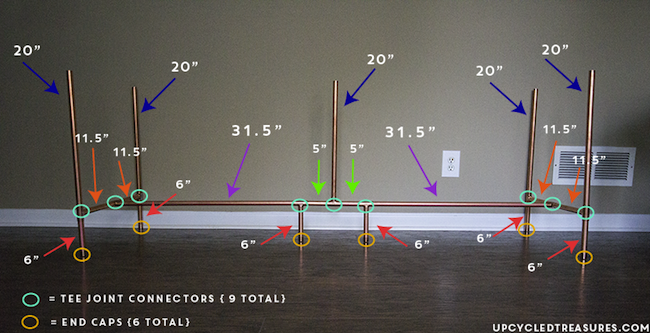 Copper Pipe Desk Measurements - Thumbs Up