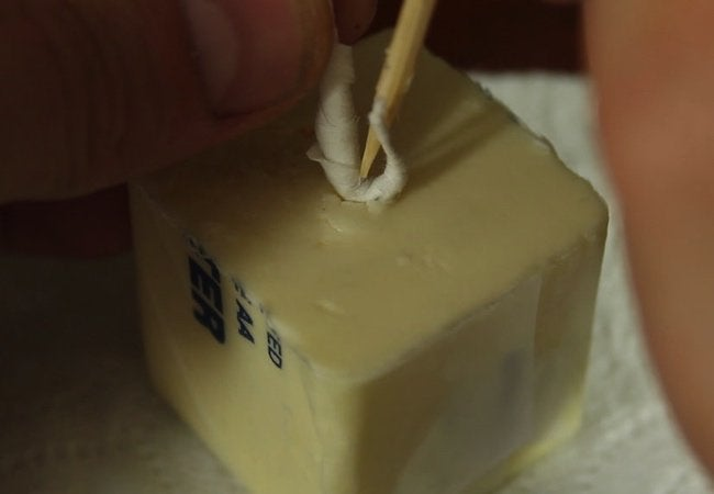 How to Make a Butter Candle - Wick