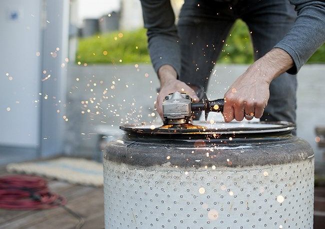 Washing Machine Fire Pit - Grinding