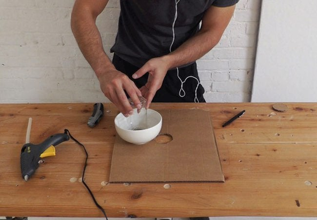 How to Make a Concrete Lamp - Insetting