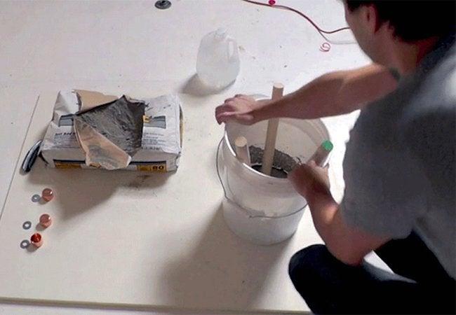 How to Make a Concrete Stool - Set Dowels