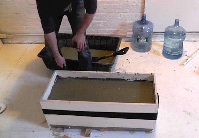 How to Make a Concrete Planter - Mixing 2