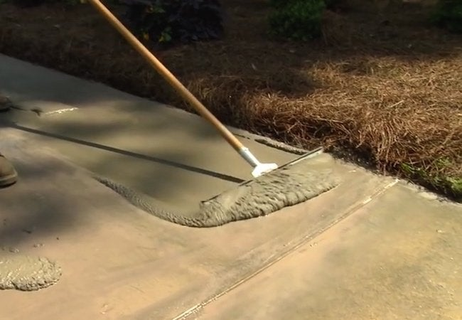 How to Resurface a Concrete Driveway - Squeegee Application