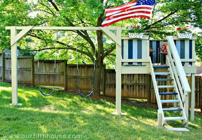 DIY Swing Set - Playhouse with Swing