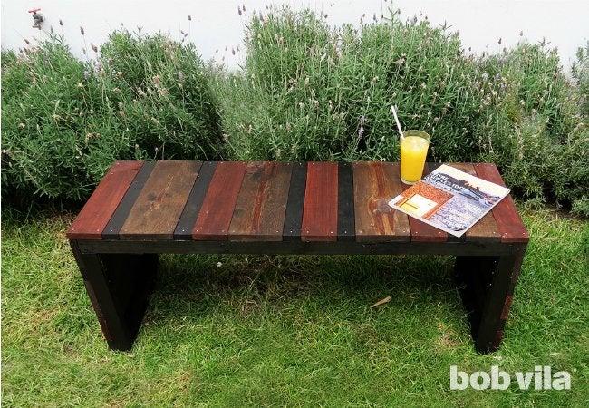 DIY Outdoor Bench - Backyard View
