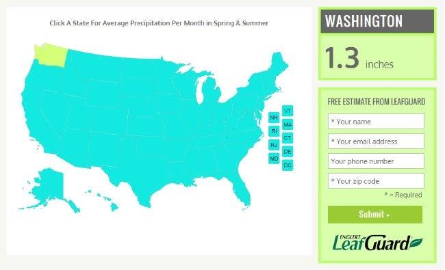 Leafguard Free Estimate - Rain Map