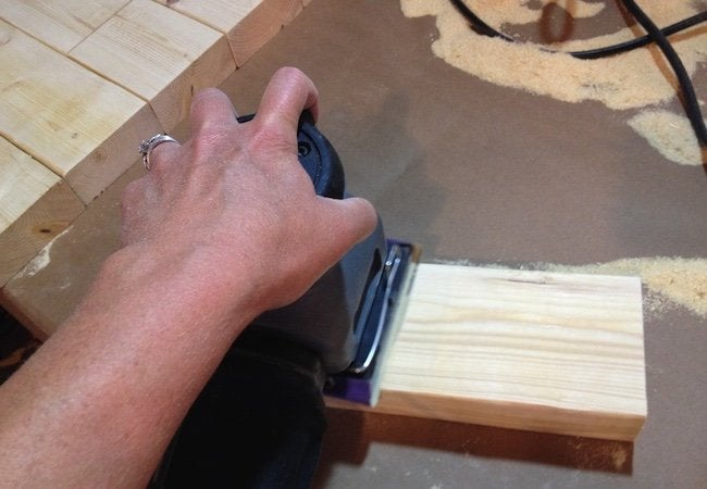 How to Make a Tabletop with 2x4s - Sanding Step 2