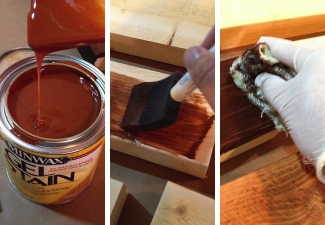 How to Make a Tabletop with 2x4s - Staining Step