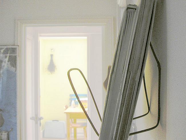 DIY Wire Hanger Shelf - Side View