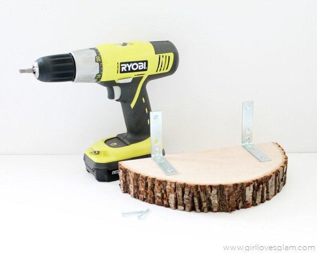wood slice shelf step 2