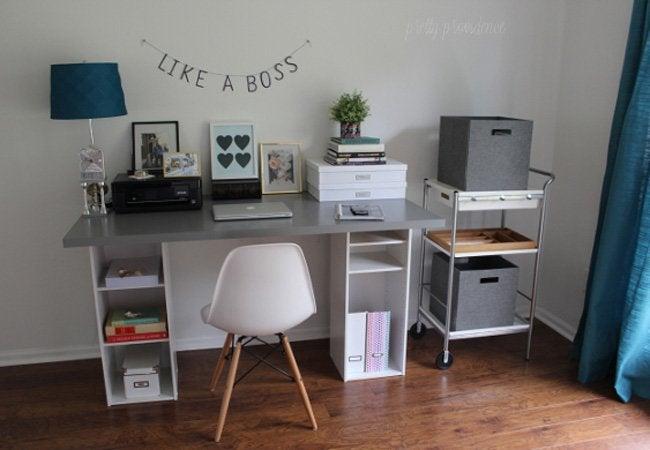 DIY computer desk - bookcase
