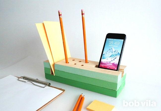DIY Desk Organizer - For Paper, Pencils, and Phones