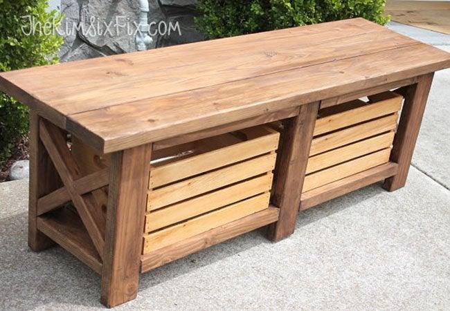 DIY Storage Bench - Wooden Seat