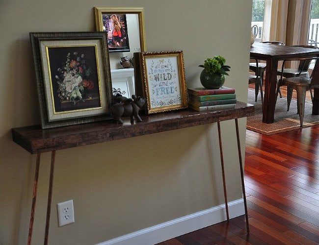 DIY Console Table - Table with Copper Legs