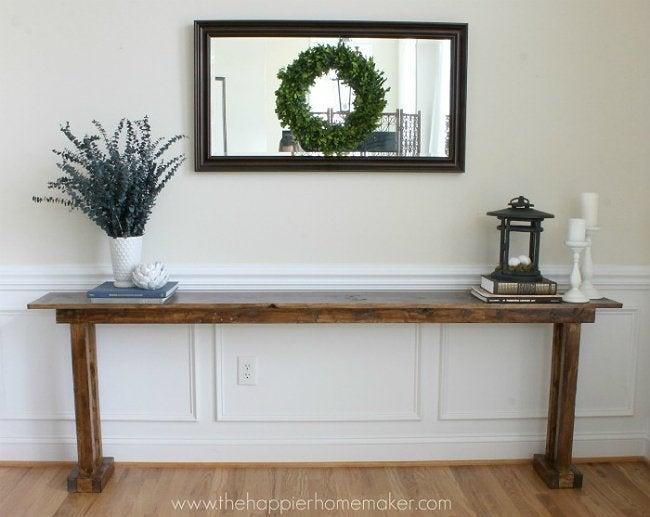 DIY Console Table - Narrow Wood Table