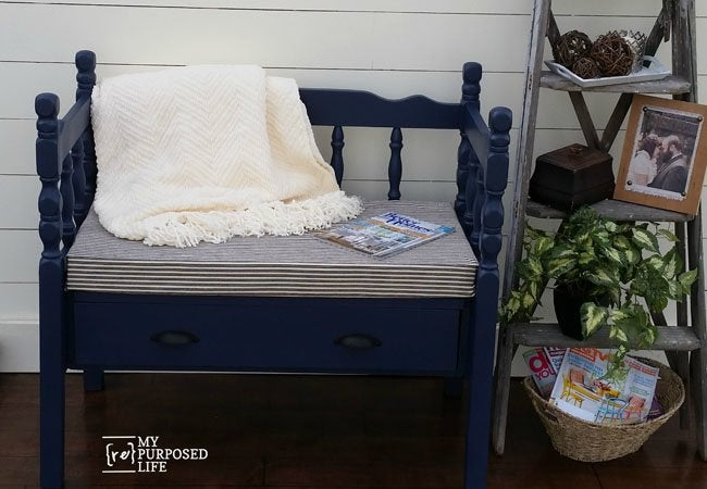 DIY Storage Bench - Converted from Twin Bed