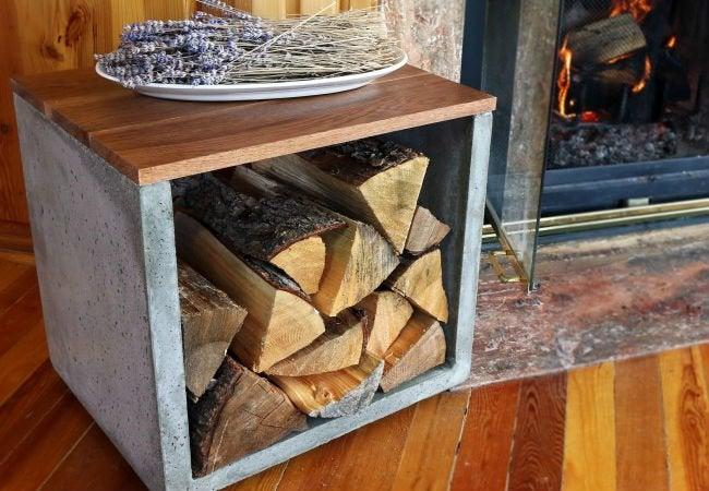 DIY Firewood Rack - Concrete
