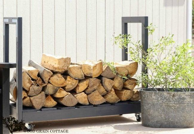DIY Firewood Rack - Rolling Cart