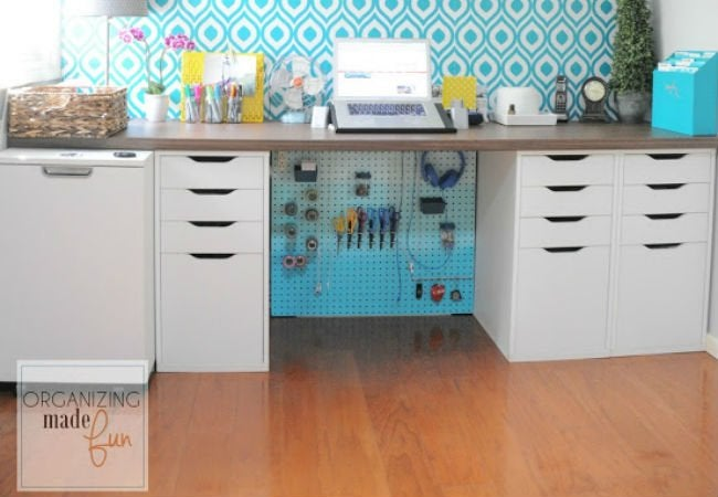 how to hide wires - pegboard